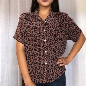 Vintage paisley 100% silk button up blouse